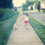 Mia and Sophie walking